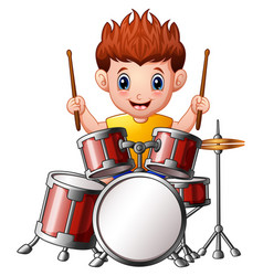 cartoon boy playing a drums vector image