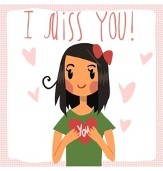 cartoon I miss you flat greeting card vector image