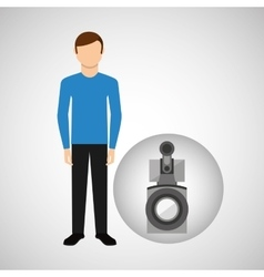 character man movie concept camera film vector image