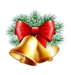 Christmas golden bells vector