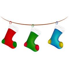 Christmas sock hang on twine line rope icon vector