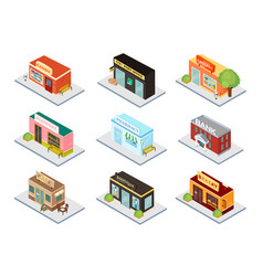 City institutions isometric 3d set vector