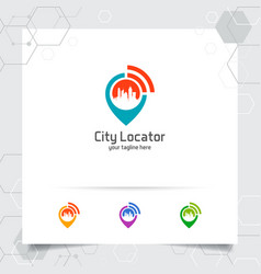 City locate logo with concept pin map locator vector