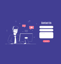 contact us web page design template in flat style vector image