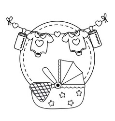 Cradle icon cartoon in black and white vector