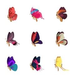 Creatures butterflies icons set cartoon style vector image