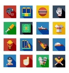 Cricket Shadow Icons Set vector