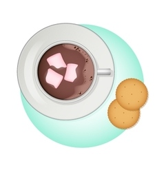 Cup of cocoa pink marshmallow and crackers vector image
