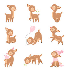 cute baby deer adorable brown forest animal in vector image