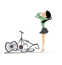 Cyclist woman and a broken bike isolated vector