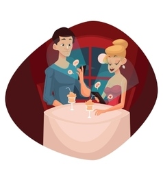 Date loving couple and mobile phone vector