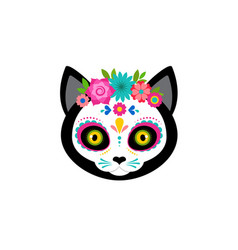 day dead dia de los moertos cute cat head vector image