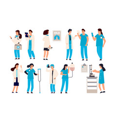 Doctor characters cartoon trendy hand draw male vector