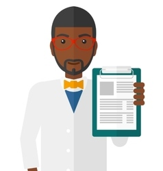 Doctor holding medical notepad vector image