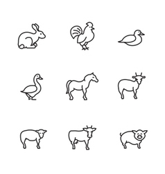 Farm animals line icons set vector