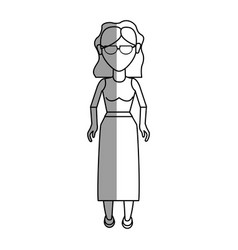 Figure nice woman with glasses blouse and long vector