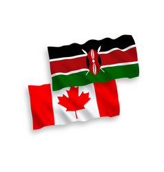 Flags canada and kenya on a white background vector