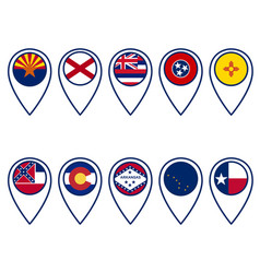 flags united states in locator pins vector image