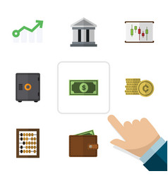 Flat exchequer set of cash strongbox bank and vector