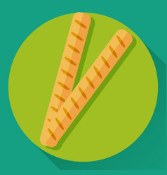 flat icon of two french baguettes vector image