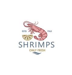 fresh shrimp label vector image