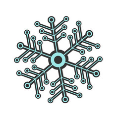 futuristic snowflake in black and blue color vector image