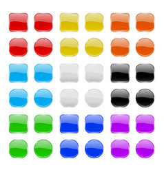 glass buttons collection shiny geometric colored vector image