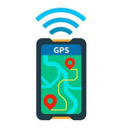Gps navigator on phone flat isolated vector