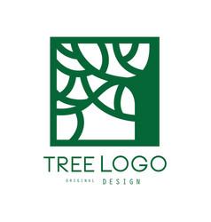 Green tree logo original design green eco square vector