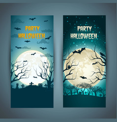 halloween party vertical banners vector image