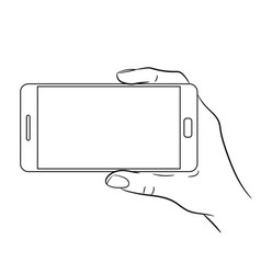 hand holding a smart phone on white background vector image