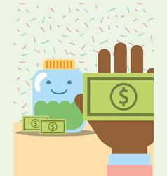Hand with money and kawaii jar banknote charity vector