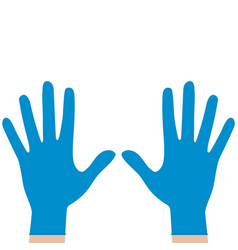 hands in rubber medical gloves protection against vector image