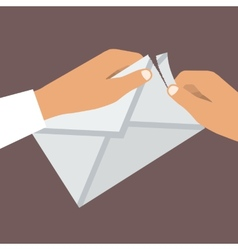 Human Hands Opens Envelope Flat style vector