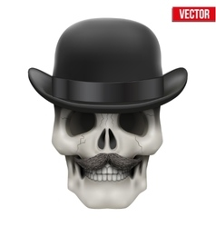 Human skull with black bowler hat vector image