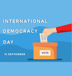 International democracy day banner with hand vector