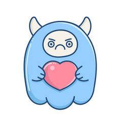 Kawaii angry blue valentine monster holding heart vector