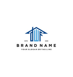 Letter dwf home roof logo design and business card vector