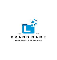 Letter l file folder logo design vector