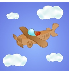 Little cute plane in the clouds vector image