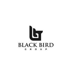 logo black bird silhouette style vector image