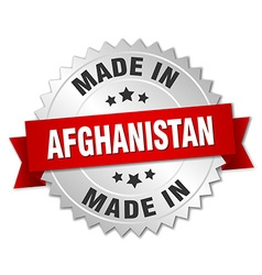 made in Afghanistan silver badge with red ribbon vector image