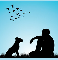 Man and his dog sitting on grass vector