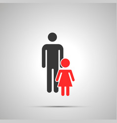 man with girl silhouette simple black icon with vector image