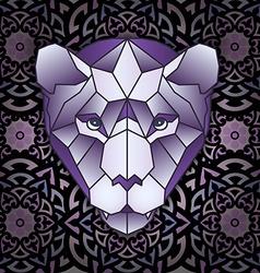 Mandala and polygonal head polygonal tiger vector