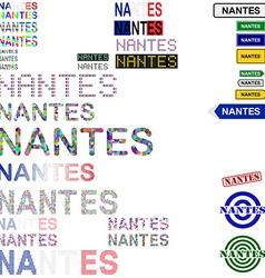 Nantes text design set vector