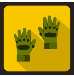 Pair of green paintball gloves icon flat style vector