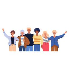 people group portrait friends waving couples vector image