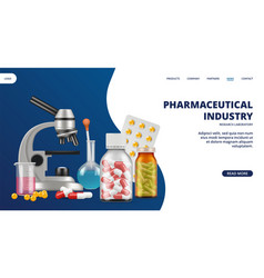 Pharmaceutical industry landing page medicine vector