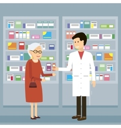 Pharmacist Old Woman Medicine vector image